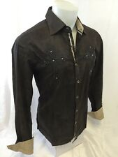 Mens House of Lords Button Down Shirt Cross Tribal Brown Roar With Class HLS3001