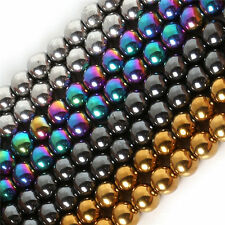 Wholesale 4/6/8/10mm Round Hematite Beads Loose Beads Shamballa Multi-color GNU