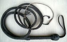 20 foot long 10 Plait BLACK Real Leather Bullwhip Indiana Jones Style Bull Whip