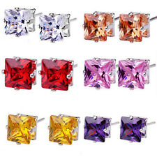 New 1 Pair Fashion Women Square Zircon Crystal Silver Plated Ear Stud Earrings
