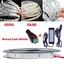 3528 5050 5630 SMD Waterproof 5M White LED Flexible Strip Light / Adapter/DC Lot