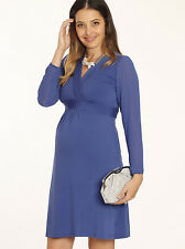 NEW Maternity V-Neck Chiffon Evening Pregnancy Party Dress in Blue - 8211BLU