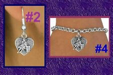 BARREL RACING Cowgirl Heart Horse Western Rodeo Necklace Earring Bracele Jewelry