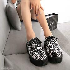 Popular Women Warm Floral Stacked Lace Up Punk Goth Flat Platform Creeper Shoes