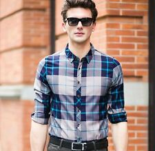 New Men's Luxury Formal Casual Slim Fit Stylish Plaids Long Sleeve Dress Shirts