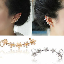 Fashion Women Crystal Star Flower Gold Ear Cuff Stud Earring Wrap Clip On Ear