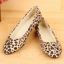 New Fashion Leopard Womens Lady Flat Slip On Loafer Casual Leopard Ballet Shoes