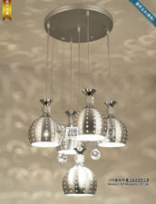 New Modern Crystal Chandelier Silver Ceiling Lighting Fixture Shade Pendant Lamp