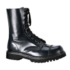 Demonia ROCKY-10 Leather Shoes & Boots Black Leather Mid Calf Hiking Combat
