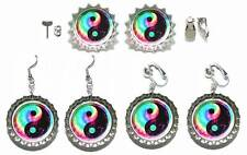 COLORFUL YIN YANG BOTTLE CAP PIERCED OR CLIP ON EARRINGS - 4 CHOICES