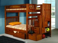 Classic Medium Wood Twin/Twin, Twin/Full Bunk Bed - Stairs w/ Storage Drawers