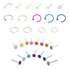Nose Piercing Body Jewelry Surgical Steel Ring Stud Hoop Pierce Ball Bar *Pick 1