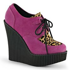 Demonia CREEPER-304 Pink Wedge Platform Lace-Up Leopard Print Suede Shoes