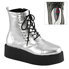 Demonia V-CREEPER-573 Silver Platform Lace-Up Cosmo Ankle Boot Spikes Shoes