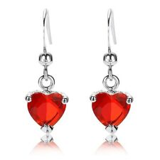 Pretty Drop Earrings Red Heart Dangle Simple Silver Plated White Gold Ruby Party