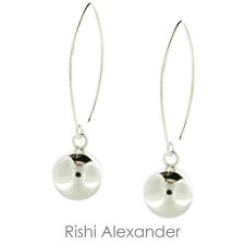 925 Sterling Silver Round Ball High Polished Dangle Wire Earrings
