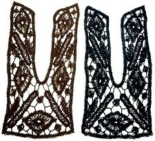 1pc Black or Brown Cotton Crochet Neckline Collar Motif Appliques Sewon A216