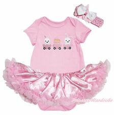 Easter Bunny Egg Pink Bodysuit Rabbit Dots Girl Baby Dress Outfit Set NB-18Month