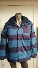 New Quiksilver DryFlight 10K Ski Snow rain waterproof hooded Stripe Jacket coat