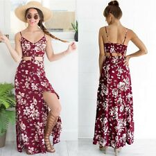 Summer Boho Women Sexy V-neck Casual Floral Sundress Beach Party Long Slip Dress