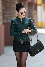 Women autumn jacket women leather jacket round Neck zip jacket Can be removed