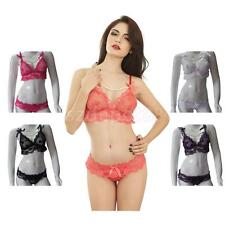 Sexy Lace Top Bra & Mini G-string Pants Lingerie Womens Nightwear Sleepwear Set