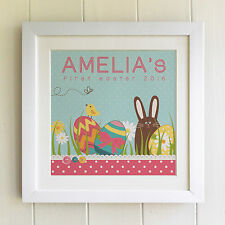 FRAMED PERSONALISED EASTER PRINT Girl/Boy/Kids Lovely Keepsake, Fab Picture Gift