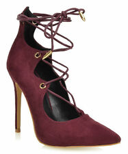 SHOE REPUBLIC BRISA WINE SUEDE CRISS CROSS LACE UP POINTED HIGH HEEL PUMP M32