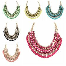 Bohemia Jewelry Pendant Chain Crystal Choker Chunky Statement Bib Necklace 30N