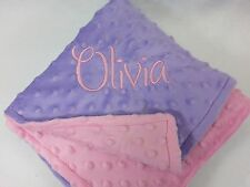 Handmade, Personalized Minky Baby Blanket - Lavender and Pink