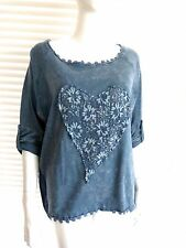 New Season Italian Tee top with lovely lace and sequin heart – Tilly