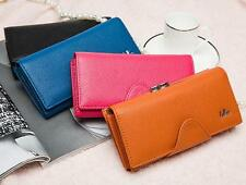 Elegant Real Leather Clutch Wallet Women's Trifold Handbag Coin Purse 8309