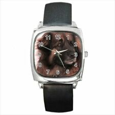 Leonberger Square Round & Square Leather Strap Watch - Dog Puppy