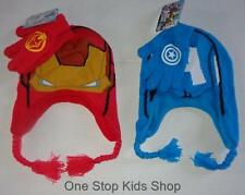 IRON MAN or CAPTAIN AMERICA Boys Winter Set HAT & GLOVES Cap MARVEL Avengers