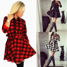 New Ladies Plaid Check Belt Blouse Shirt Skater Dress Women 3/4 Sleeve Top O5Z1