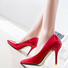 Fashion Women PU Leather Sexy Pointed Toe Wear to Work Stiletto High Heels Shoes