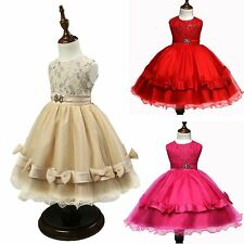 Formal Gown Girls Graceful  Lace Bowknot Tulle Dresses Pageant Wedding Party