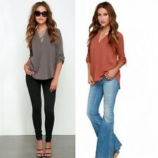 Women V-Neck Pullover Shirt Tops Solid OL Folding Long Sleeve Loose Linen Blouse