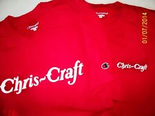 Two Red Chris Craft Pre War Logo Screen Printed Champion T-Shirts