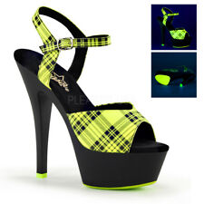 Pleaser KISS-209PL Sexy UV Neon Lime Green Platform Ankle Strap Sandal Heels