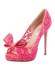 VALENTINO COUTURE BOW SEXY BRIGHT PINK LACE PUMPS EU 39.5 US 8.5