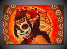 Single Picture Canvas Prints Day of the Dead Sugar Skull Lady Home Decor Wall