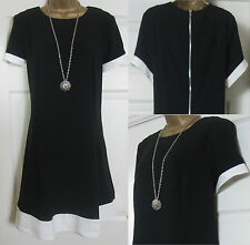 NEW EX THREADS PLUS SIZE 18-26 SWING DRESS TUNIC PARTY ZIP BACK BLACK RRP £45