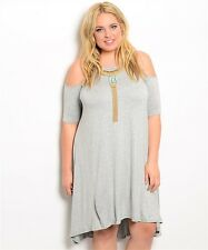 Gray Cold Open Shoulder Swing Dress 1X 2X 3X New Plus Size Short Sleeve Knit