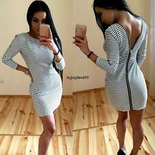 Women Sexy Package Hip Dress Back Zipper Striped Slim Bodycon Party Mini Dress