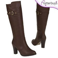 Knee High chunky heel ladies Riding Boots Brown Faux Leather Buckle Detail