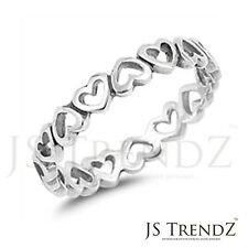 Solid Sterling Silver Designer Inspired Open Hearts All Around Band Ring