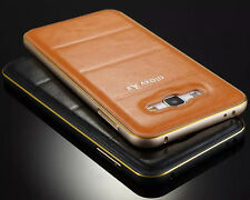 New Luxury Slim Aluminum Frame Bumper Leather Back Case Cover For iPhone/Samsung