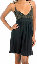S M L Dress Cocktail Mini Party Black Gold Sparkling Shimmer Flowly Cami New