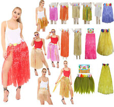 Hawaiian Hula Grass Dance Skirts With Flowers All Colours Fancy Dress Costume